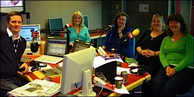 Ladies at lunch on the radio
