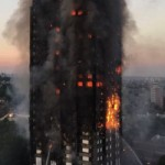The Grenfell Tower Block on fire